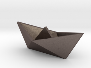 Classic Origami Boat in Polished Bronzed Silver Steel
