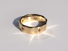Natural Decagon Ring in 14K Yellow Gold