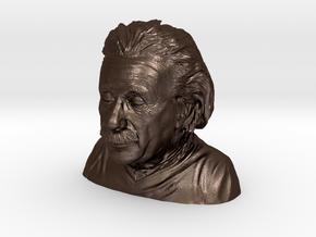 Einstein Bust in Matte Bronze Steel