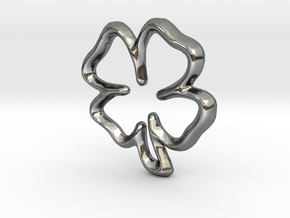 Lucky Clover Charm - 11mm in Fine Detail Polished Silver