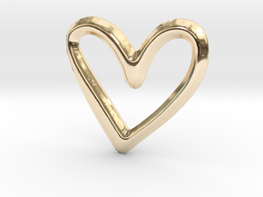 Open Heart Pendant/Charm - 16mm in 14K Yellow Gold