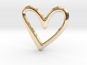 Open Heart Pendant - 22mm in 14K Yellow Gold