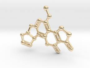 Aflatoxin B1 Molecule Necklace in 14k Gold Plated Brass