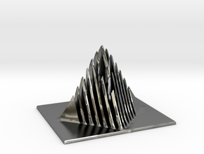 Miniature Pyramid Sculpture in Fine Detail Polished Silver