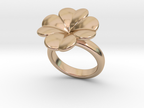 Lucky Ring 15 - Italian Size 15 in 14k Rose Gold Plated Brass