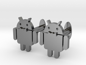 Android Cufflinks 2x  in Fine Detail Polished Silver