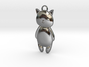 Kitty Cat Pendant in Fine Detail Polished Silver