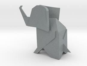 Origami Elephant in Polished Metallic Plastic