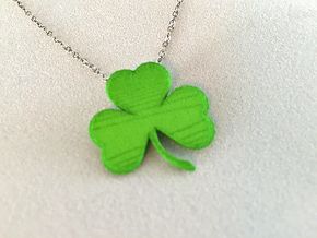 Customizable Shamrock Pendant in Green Processed Versatile Plastic