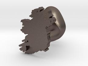 Cork Cufflink in Polished Bronzed Silver Steel