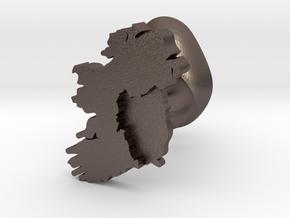 Munster Cufflink in Polished Bronzed Silver Steel
