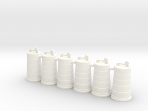 Traffic Drum 01. 1:24 Scale in White Strong & Flexible Polished