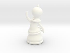 Waving Pawn in White Processed Versatile Plastic