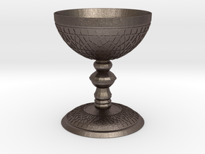 luxurious Cup with Islamic motifs in relief in Polished Bronzed Silver Steel