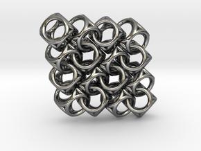 Spherical Cuboid Pattern Design in Fine Detail Polished Silver