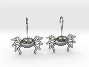 Cute Spider Earrings in Fine Detail Polished Silver
