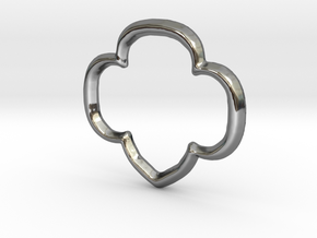 Trefoil Pendant/Charm - 16mm in Fine Detail Polished Silver