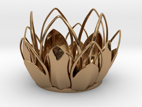 Tea-light - Flower in Polished Brass