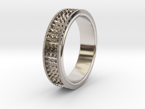 Ø0.666 inch/Ø16.92 Mm Detailed Ring in Rhodium Plated Brass