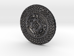Celtic Shield Coin in Polished and Bronzed Black Steel