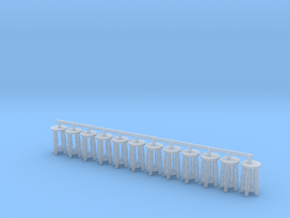 HO Scale short bar stools x12 in Smooth Fine Detail Plastic