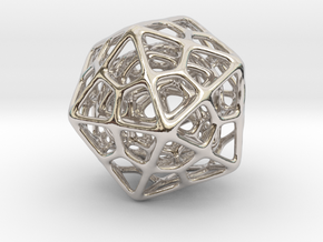 Double Icosahedron Silver in Rhodium Plated Brass