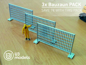 3X Pack 1:50 Bauzaun / Construction fence in White Natural Versatile Plastic