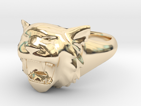 Awesome Tiger Ring Size 7 in 14K Yellow Gold