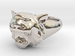 Awesome Tiger Ring Size 7 in Platinum