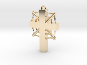 Cross with cobwebs and the words in 14k Gold Plated