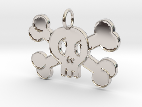 Cute Skull With Bones Pendant Charm in Rhodium Plated Brass