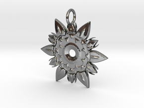 Elegant Chic Flower Pendant Charm in Fine Detail Polished Silver