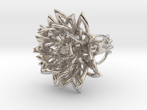 Ring the Chrysanthemum / size 6 US (16,5 mm) in Rhodium Plated Brass