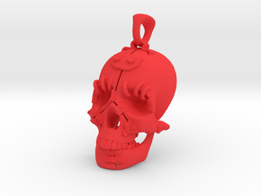 "The ""Fractured Skull"" pendant large in Red Strong & Flexible Polished"