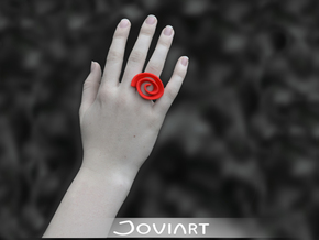 Curly Rose Ring 20mm in Red Processed Versatile Plastic