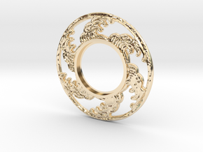 MHS compatible Tsunami Tsuba in 14K Yellow Gold