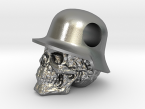 Hole in the Head Army Skull Pendant in Natural Silver