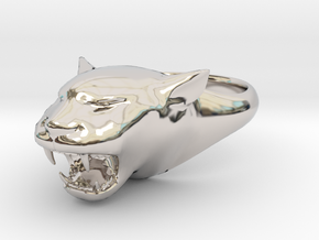 Cougar-Puma Ring , Mountain lion Ring Size 13  in Rhodium Plated Brass