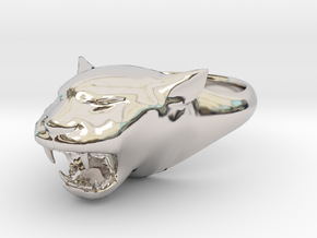 Cougar-Puma Ring , Mountain lion Ring Size 12 in Rhodium Plated Brass