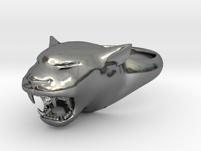 Cougar-Puma Ring , Mountain lion Ring Size 6  in Fine Detail Polished Silver