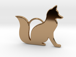 Sitting Fox in Polished Brass