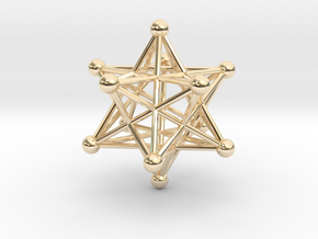Stellated Dodecahedron pendant 40mm in 14k Gold Plated Brass