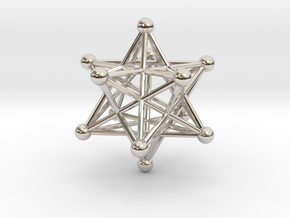 Stellated Dodecahedron pendant 40mm in Rhodium Plated Brass