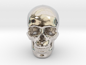 33mm 1.3in Human Skull (23mm/.9in wide) in Platinum