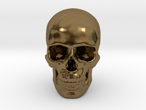 33mm 1.3in Human Skull (23mm/.9in wide) in Polished Bronze