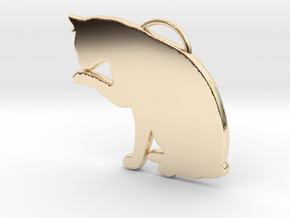 Cat Licking in 14K Yellow Gold
