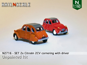 SET 2x Citroën 2CV - cornering (N 1:160) in Smooth Fine Detail Plastic