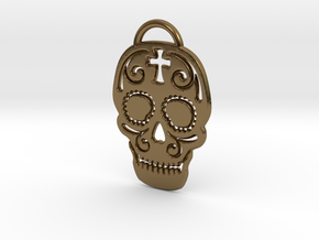 Skull with pattern in Polished Bronze