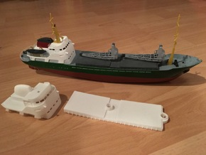 Coaster 840, Superstructure & Hatches (1:200, RC) in White Processed Versatile Plastic