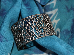 Cuff ' Coral ' in Polished Nickel Steel